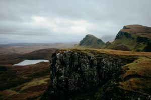 Craggy hills and grassy mountains in Scotland